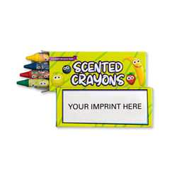 4 Pack Scented Crayons - Imprinted firefighting, fire safety product, fire prevention, crayons, non-toxic, color me, public safety, scent crayons