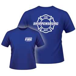 Adult FD T-Shirt - 1-Color Imprint Design 1 firefighting, fire safety product, fire prevention, adult shirts, firefighting t-shirt, adult fire department shirt, fire dept. shirt, cotton, custom, imprinted