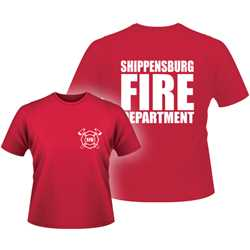 Adult FD T-Shirt - 1-Color Imprint Design 2 firefighting, fire safety product, fire prevention, adult shirts, firefighting t-shirt, adult fire department shirt, fire dept. shirt, cotton, custom, imprinted