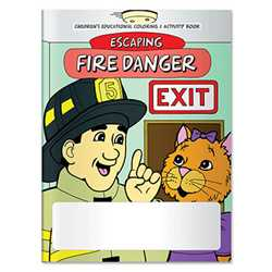Stock Coloring Book - Escaping Fire Danger firefighting, fire safety product, fire prevention product, firefighting coloring book, firefighting activity book, fire safety coloring book, fire safety activity book, fire prevention coloring book, fire prevention activity book