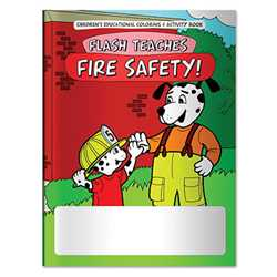 Stock Coloring Book - Flash Teaches Fire Safety! firefighting, fire safety product, fire prevention product, firefighting coloring book, firefighting activity book, fire safety coloring book, fire safety activity book, fire prevention coloring book, fire prevention activity book