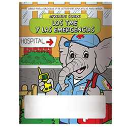 Stock Coloring Book - Learn About EMTs and Emergencies - Spanish Version firefighting, fire safety product, fire prevention product, firefighting coloring book, firefighting activity book, fire safety coloring book, fire safety activity book, fire prevention coloring book, fire prevention activity book