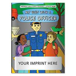 Coloring Book - My Visit with a Police Officer Police, safety product, prevention product, police officer coloring book, police activity book, fire safety coloring book, police safety activity book, prevention coloring book, imprinted, custom