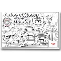 Custom Color-Me Police Poster Police, safety product, educational, custom poster, color-me poster, color-me, imprinted poster, imprinted color-me poster, card stock poster