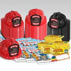Custom Firefighter Honor Value Bundle - 900 pcs.   fire prevention, fire hats, coloring books, crayons, value, thin red line, state