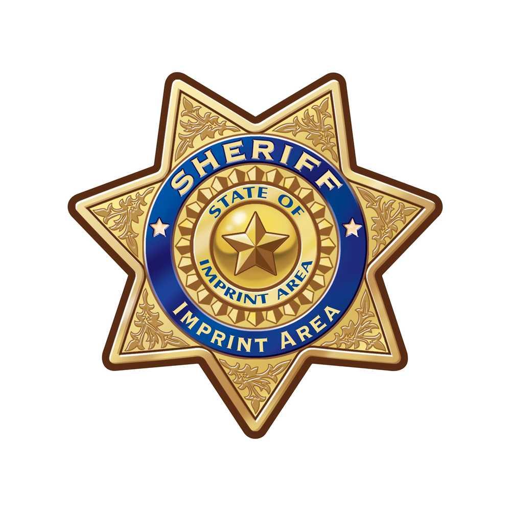 Custom Gold 7-Point Sheriff Sticker Badge
