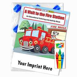 Custom Imprinted Coloring Book Fun Pack - A Visit to the Fire Station Children, educational, coloring, activity, book, safety