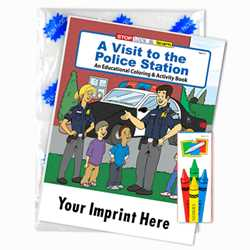 Custom Imprinted Coloring Book Fun Pack - A Visit to the Police Station