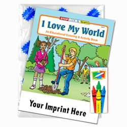 Custom Imprinted Coloring Book Fun Pack - I Love My World
