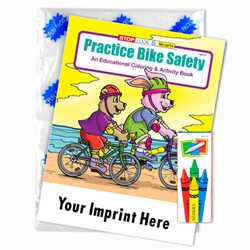Custom Imprinted Coloring Book Fun Pack - Practice Bike Safety