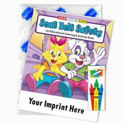 Custom Imprinted Coloring Book Fun Pack - Seat Belt Safety