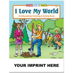 Custom Imprinted Coloring Book - I Love My World