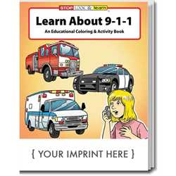 Custom Imprinted Coloring Book - Learn About 9-1-1 Children, educational, coloring, activity, book, safety