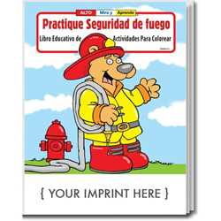 Custom Imprinted Coloring Book - Practice Fire Safety - Spanish Version Children, educational, coloring, activity, book, safety