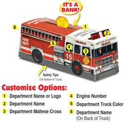 Custom Paper Fire Truck Bank Fire Truck, Fire, Truck, Safety