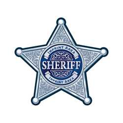 Custom Silver 5-Point Sheriff Sticker Badge