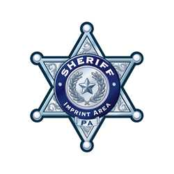 Custom Silver 6-Point Sheriff Sticker Badge