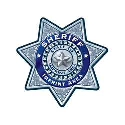 Custom Silver 7-Point Sheriff Sticker Badge