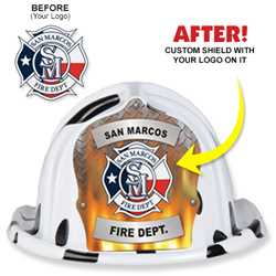 Custom Specialty Hat - Submit Your Own Shield Design firefighting, fire safety product, fire prevention, plastic fire hats, fire hats, kids fire hats, junior firefighter hat, custom fire hat