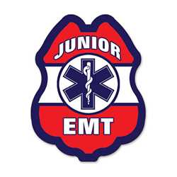 EMT Red, White & Blue Plastic Clip-On Badge