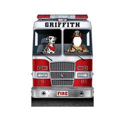 "Fire Engine w/ Dalmatian Photo Prop 45"" X 66"" firefighting, fire safety product, fire prevention, cut outs, photo props, firefighter, photo prop, cut out"