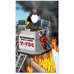 "Firefighter on Ladder Truck Photo Prop - 41"" X 69"" firefighting, fire safety product, fire prevention, cut outs, photo props, firefighter"