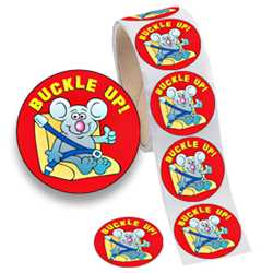 Fun Sticker Roll - Buckle Up! fun sticker, stickers, buckle up, traffic awareness