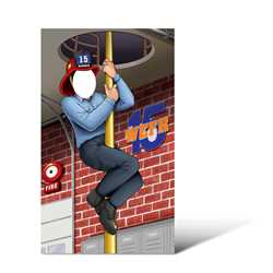 "Iconic Firemans Pole Photo Prop 41"" X 69"" firefighting, fire safety product, fire prevention, cut outs, photo props, firefighter"