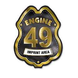 Imprinted Black&Gold Engine Number/Text Plastic Clip-On Badge firefighting, fire safety product, fire prevention, plastic fire badge, firefighting badge, custom badge, custom firefighter badge, engine number badge