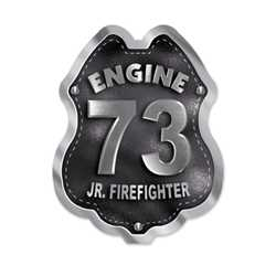 Imprinted Black&Silver Engine Number Sticker Badge firefighting, fire safety product, fire prevention, plastic fire badge, firefighting badge, custom badge, custom firefighter badge