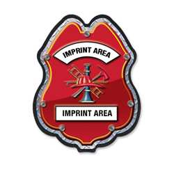 Imprinted Firefighter Scramble Plastic Clip-On Badge