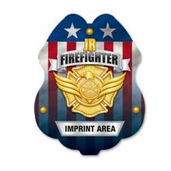 Imprinted Jr. FF Gold Sticker Badge firefighting, fire safety product, fire prevention, plastic fire badge, firefighting badge, junior firefighter badge, custom badge
