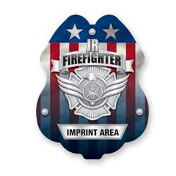 Imprinted Jr. FF Silver Sticker Badge firefighting, fire safety product, fire prevention, plastic fire badge, firefighting badge, junior firefighter badge, custom badge, custom firefighting badge