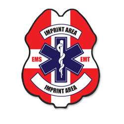 Imprinted Jr Paramedic RWB Plastic Clip-On Badge