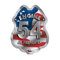 Imprinted Patriotic Engine Number Sticker Badge firefighting, fire safety product, fire prevention, plastic fire badge, firefighting badge, patriotic badge, engine number badge, custom badge, custom firefighting badge