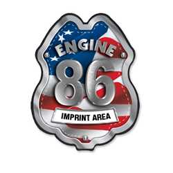 Imprinted Patriotic Engine Number/Text Plastic Clip-On Badge firefighting, fire safety product, fire prevention, plastic fire badge, firefighting badge, custom badge, custom firefighter badge, patriotic badge