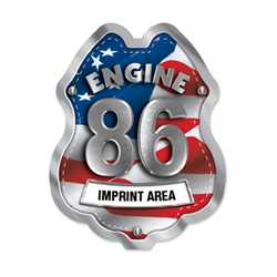Imprinted Patriotic Engine Number/Text Sticker Badge firefighting, fire safety product, fire prevention, plastic fire badge, firefighting badge, custom badge, custom firefighter badge, patriotic badge
