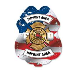Imprinted Patriotic Sticker Badge firefighting, fire safety product, fire prevention, plastic fire badge, firefighting badge
