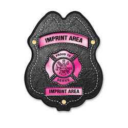 Imprinted Pink Maltese Cross Plastic Clip-On Badge