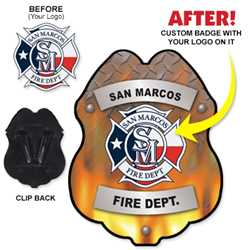 Imprinted Plastic Clip-On Badge - Submit Your Own Design firefighting, fire safety product, fire prevention, plastic fire badge, firefighting badge, custom badge, custom firefighter badge