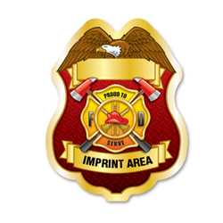 Imprinted Proud To Serve Gold Sticker Badge firefighting, fire safety product, fire prevention, plastic fire sticker, firefighting sticker