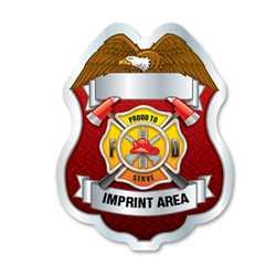 Imprinted Proud To Serve Silver Sticker Badge firefighting, fire safety product, fire prevention, plastic fire badge, firefighting badge, custom badge, custom firefighter badge