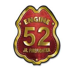 Imprinted Red&Gold Engine Number Plastic Clip-On Badge firefighting, fire safety product, fire prevention, plastic fire badge, firefighting badge, custom badge, custom firefighter badge