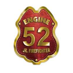 Imprinted Red&Gold Engine Number Sticker Badge firefighting, fire safety product, fire prevention, fire sticker, firefighting sticker, custom sticker, custom firefighter sticker