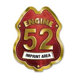 Imprinted Red&Gold Engine Number/Text Sticker Badge firefighting, fire safety product, fire prevention, plastic fire badge, firefighting badge, custom badge, custom firefighter badge
