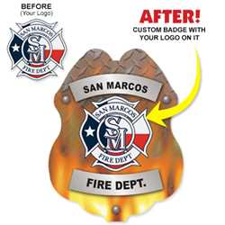 Imprinted Sticker Badge - Submit Your Design firefighting, fire safety product, fire prevention, plastic fire badge, firefighting badge, custom badge, custom firefighter badge