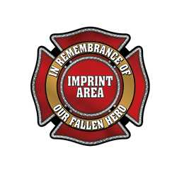 "In Remembrance Maltese Cross Wall Cling 36"" X 36"" firefighting, fire safety product, fire prevention, wall clings, durable, white vinyl, In Remmbrance, Memory of,  imprinted, custom, self-adhesive"