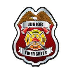 Jr. FF Proud to Serve Silver Plastic Clip-On Badge