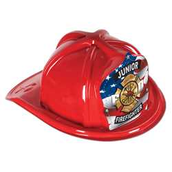 Jr. Firefighter Hat - Patriotic Shield firefighting, fire safety product, fire prevention, plastic fire hats, fire hats, kids fire hats, junior firefighter hat