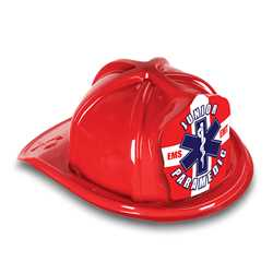 Jr Paramedic Hat - RWB Star of Life Shield firefighting, fire safety product, fire prevention, plastic fire hats, fire hats, kids fire hats, junior firefighter hat, junior fire chief hat